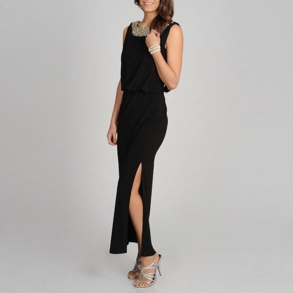 R & M Richards Women's Black Beaded Neck Long Formal Dress