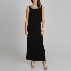 R & M Richards Women's Black Beaded Neck Long Formal Dress