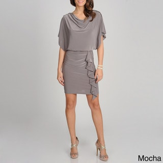 R & M Richards Women's Blouson Drape Neck Dress