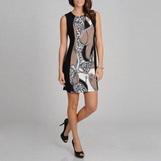 R & M Richards Women's Black and Taupe Panel Print Sleeveless Dress
