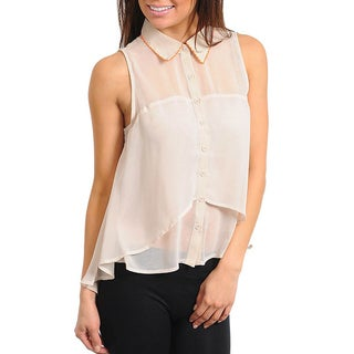 Stanzino Women's Cream Sleeveless Sheer Collared Top