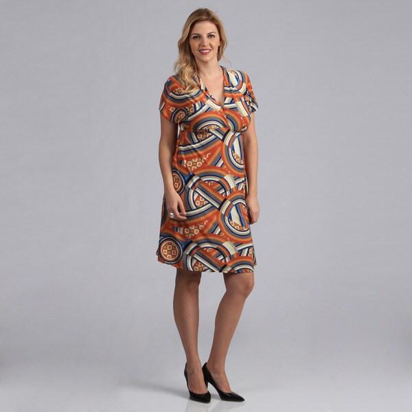 24/7 Comfort Apparel Women's Plus Size Abstract Print Empire Dress