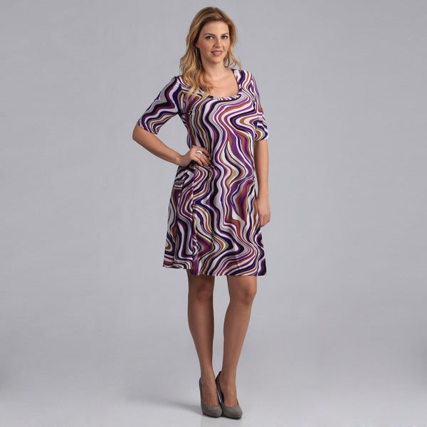 24/7 Comfort Apparel Women's Plus Size Abstract Print Dress