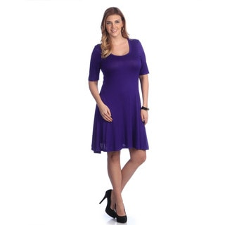 24/7 Comfort Apparel Women's Black Elbow-sleeve Dress