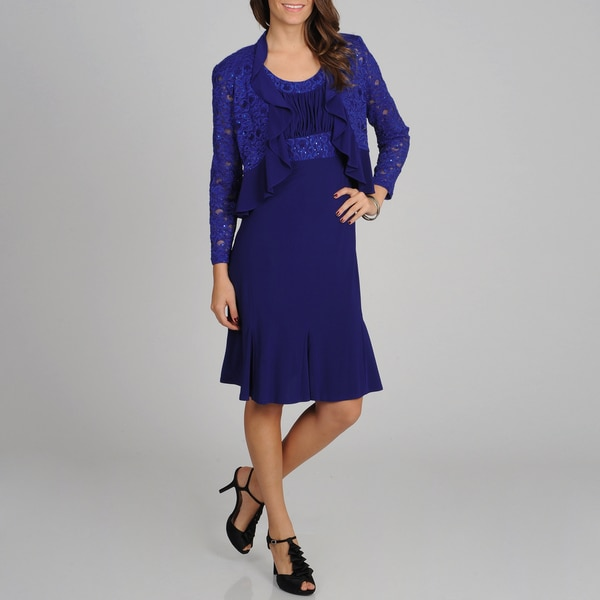 R & M Richards Women's Royal Lace and Ruffled Detailed Dress and Jacket Set