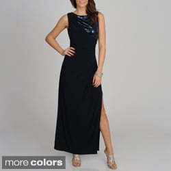 R & M Richards Women's Sequin Detail Long Side Slit Dress