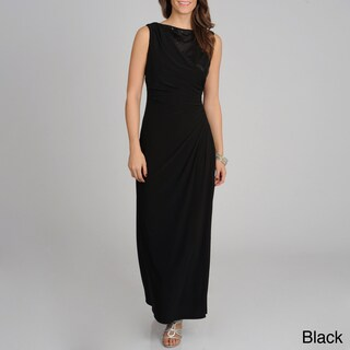 R & M Richards Women's Sequin Detail Long Side Slit Dress