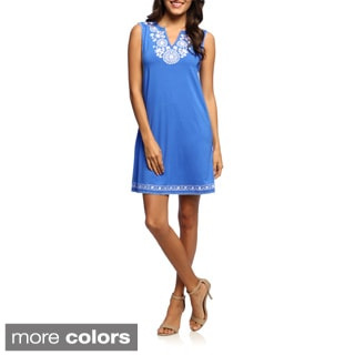 Grace Elements Women's Sleeveless Embroidered Neck Dress