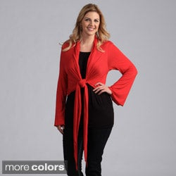24/7 Comfort Apparel Women's Plus Size Tie-front Shrug