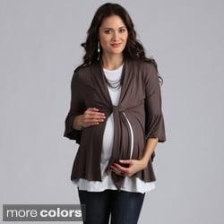 24/7 Comfort Apparel Maternity Tie-Front Flutter Sleeve Jacket