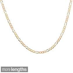 Sterling Essentials 14k Tri-color Gold Italian Pave Figaro Chain