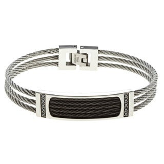 Stainless Steel Men's 1/5ct TDW Black Diamond and Black Cable Bracelet