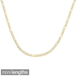 Sterling Essentials 14k Two-Tone Gold Italian Figaro Chain Necklace