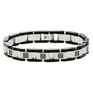 Stainless Steel 1/2ct TDW Black Diamond Link Bracelet