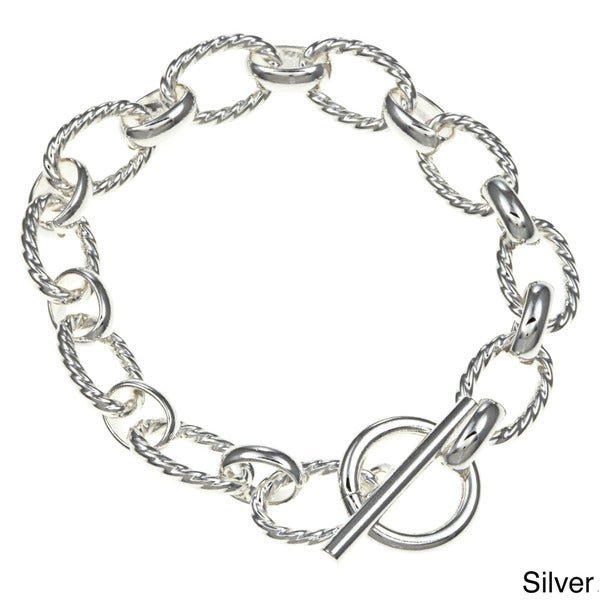Sterling Essentials Silver 7.5-inch Twisted Oval Link Toggle Bracelet 10710040