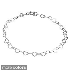Sterling Essentials Silver 7-inch Heart Link Bracelet