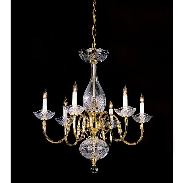 Historical Polished Brass 6-Light Chandelier