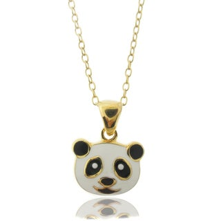 Molly and Emma 18k Gold Overlay Children's Enamel Panda Necklace