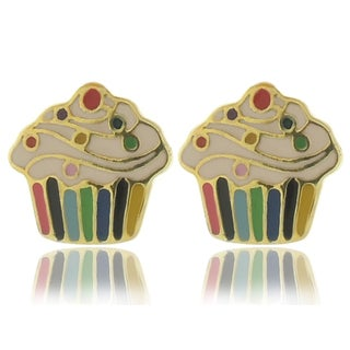 Molly and Emma 18k Gold Overlay Children's Enamel Cupcake Stud Earrings