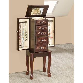 Tobacco Finish Floral Design Jewelry Armoire Chest