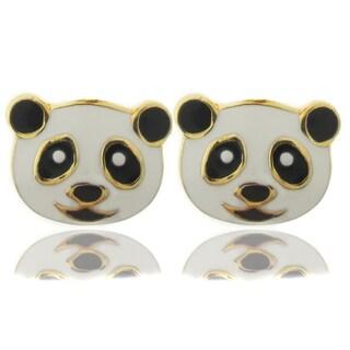 Molly and Emma 18k Gold Overlay Children's Enamel Panda Stud Earrings