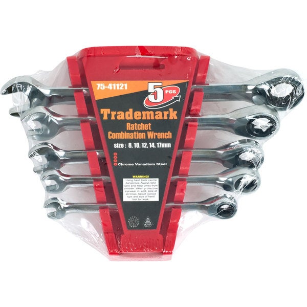Trademark 5-piece Ratchet Combination Metric Wrenches