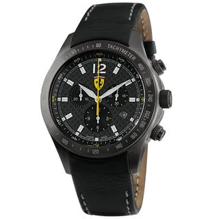 Ferrari Men's Leather Black Dial Quartz Watch