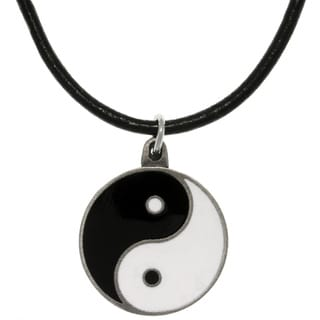 Carolina Glamour Collection Pewter Yin Yang Leather Cord Necklace