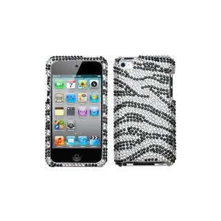MYBAT Black Zebra Skin Diamante Case for Apple iPod Touch Generation 4