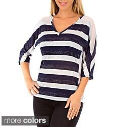 Stanzino Women's Striped V-neck 3/4-length Sleeve Blouse
