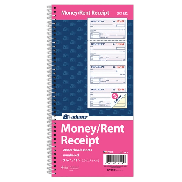 Adams Two-part Rent Carbonless 200 Forms Receipt Book (2.75 x 4.75)