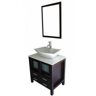 Modern Single Ceramic Sink with Cultured Marble Top Bathroom Vanity Cabinet Set