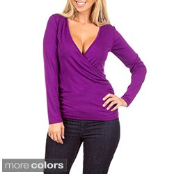 Stanzino Women's Overlapping V-neck Long Sleeve Top