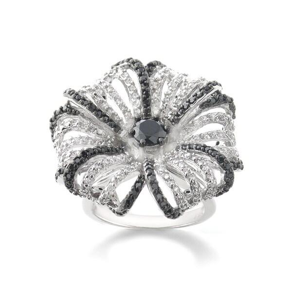 Icz Stonez Silvertone Black and White Cubic Zirconia Flower Ring
