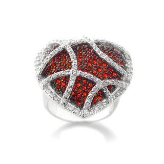 Icz Stonez Silvertone Red and White Cubic Zirconia Heart Ring