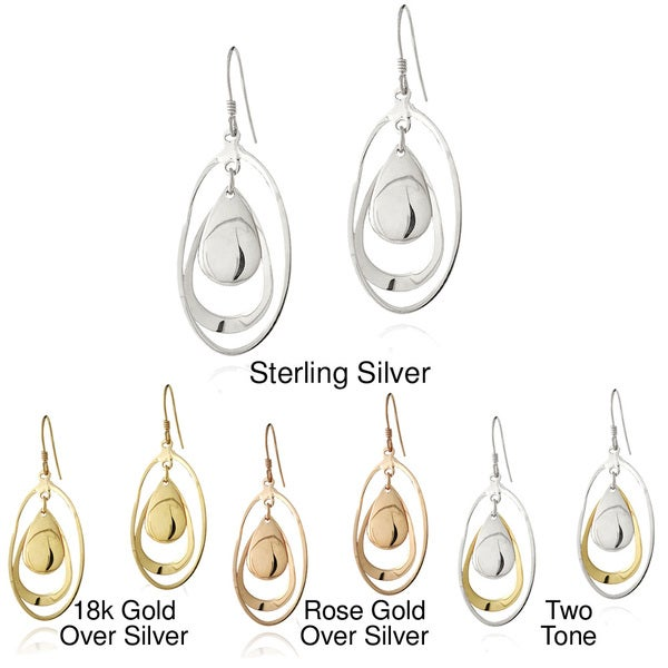 Mondevio Sterling Silver Teardrop and Oval Dangle Earrings