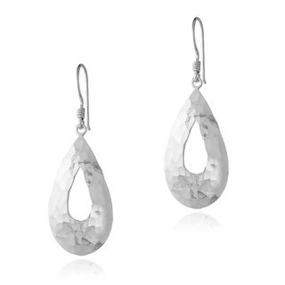 Mondevio Sterling Silver Hammered Open Teardrop Dangle Earrings