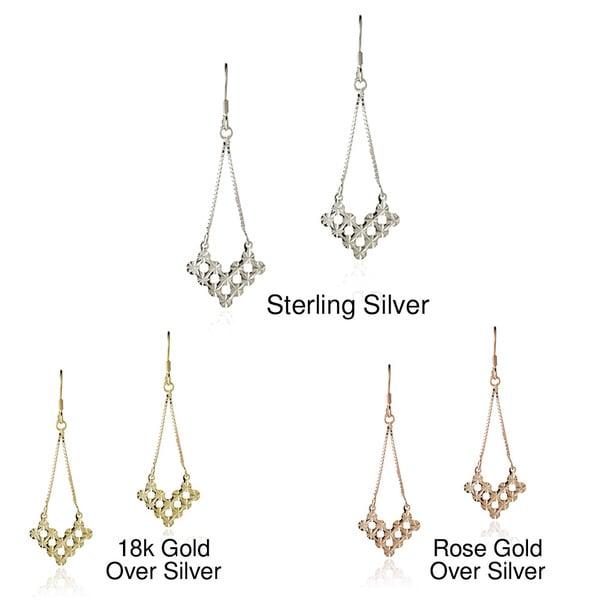 Mondevio Sterling Silver V-shape Cut-out Chandelier Dangle Earrings