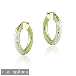 Mondevio Silver Two-tone Diamond-cut Tube Hoop Earrings