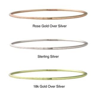 Mondevio Sterling Silver Hammered Round Bangle Bracelet