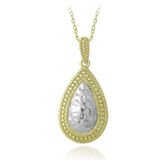 Mondevio Two-tone Sterling Silver Framed Hammered Teardrop Necklace