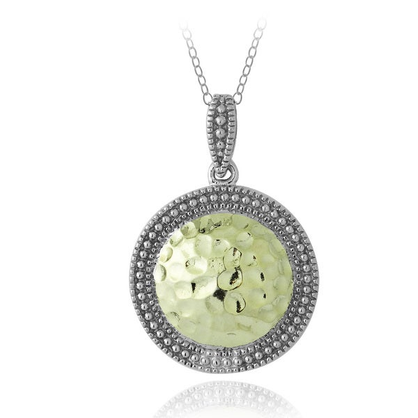 Mondevio Two-tone Sterling Silver Round Hammered Necklace