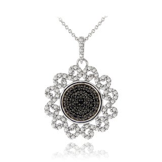 DB Designs Sterling Silver Black Diamond Accent Sun Medallion Necklace
