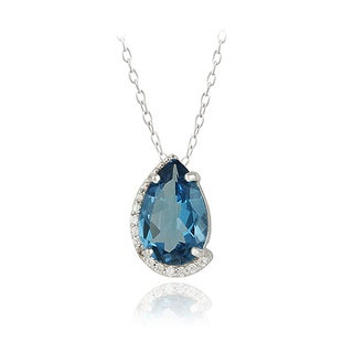 Glitzy Rocks Sterling Silver London Blue Topaz and Cubic Zirconia Teardrop Necklace