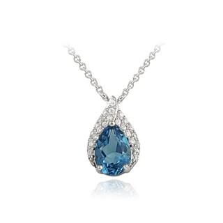 Glitzy Rocks Silver London Blue Topaz and Cubic Zirconia Teardrop Necklace