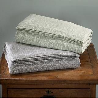 Luxury German Filigree Print Flannel Sheet Sets or Pillowcase Separates