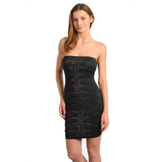 Stanzino Women's Black Strapless Studded Dress