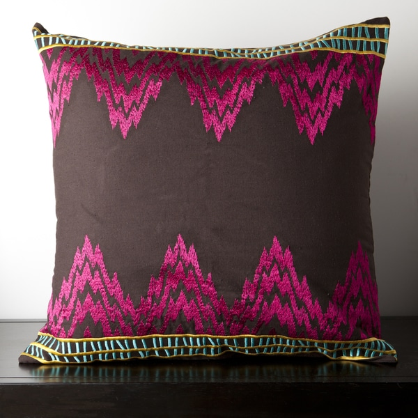 Caelyn Brown and Pink Chevron 18-inch Decorative Pillow