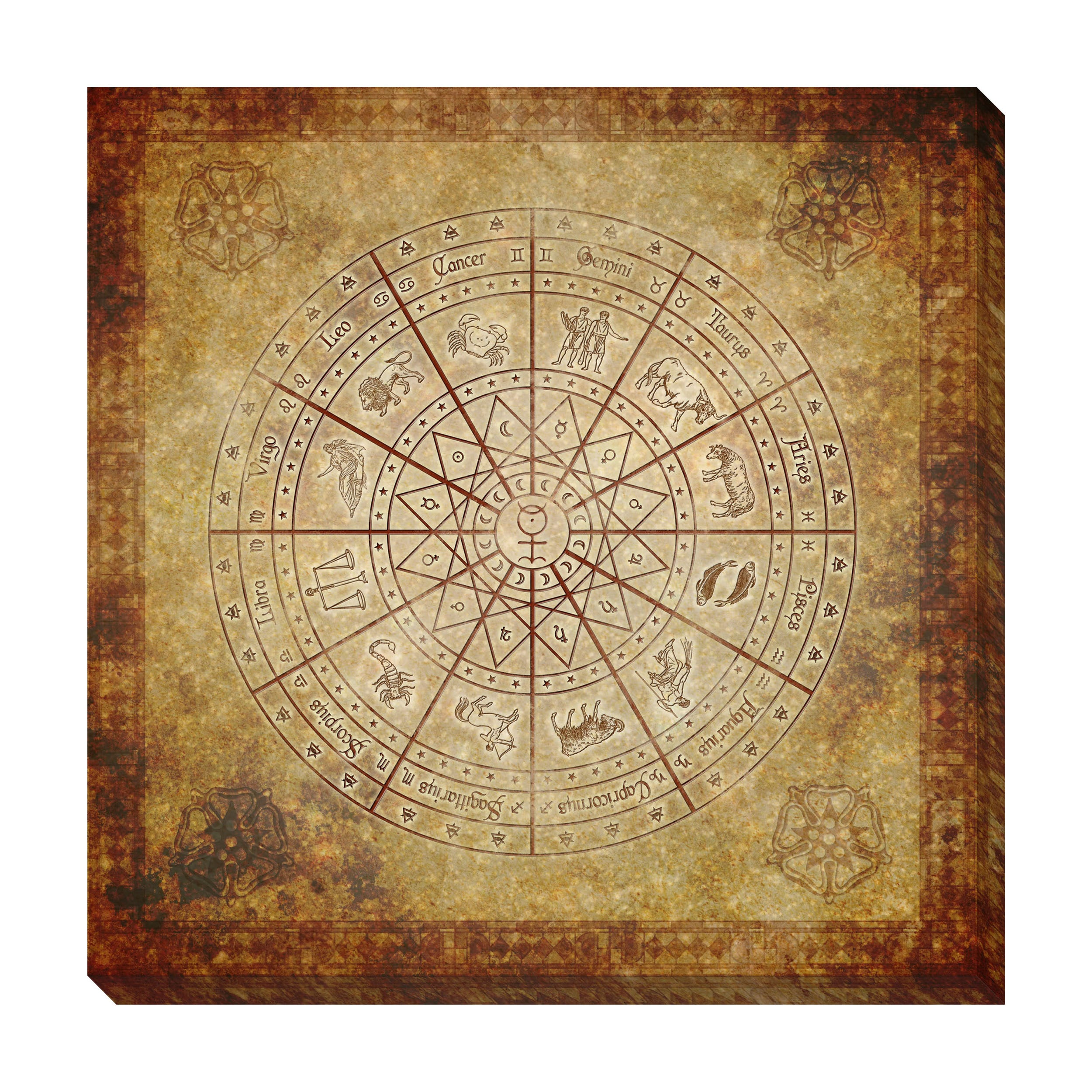 Zodiac Circle Oversized Gallery Wrapped Canvas