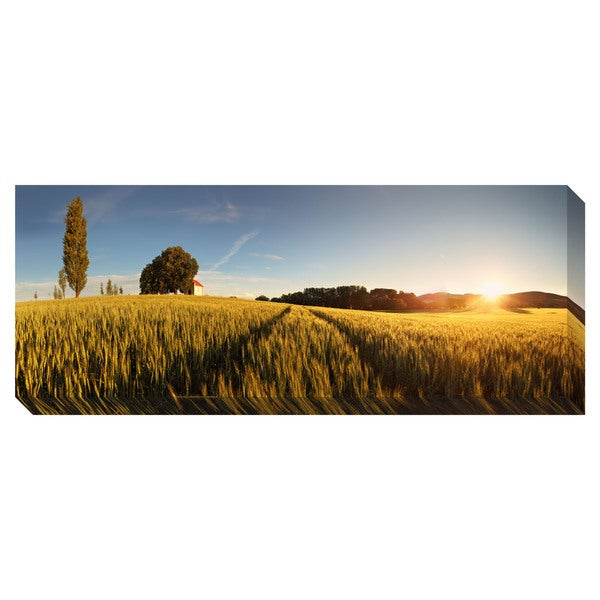 Sunset Over Wheat Field Panoramic Oversized Gallery Wrapped Canvas